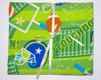 Extra Large Receiving/Swaddle Blanket - Green Sports Football 40x40