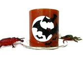 Bat Halloween Candle - Decorative Orange Seasonal Candle - Pumpkin Spice- Black and White on Orange