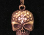 "Tribal Antique Brass Skull with Rhinestone Crystals - 26.5"" Chain Necklace"
