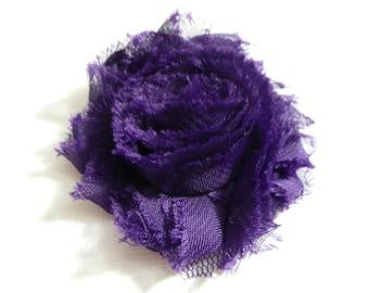 Shabby Chic Flower, Dark Purple Hair Clip, Baby Bow, Baby Girl Headband, Newborn Headband.