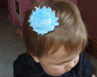 Shabby Chic Flower, Light Blue Hair Clip, Baby Bow, Baby Girl Headband, Newborn Headband.