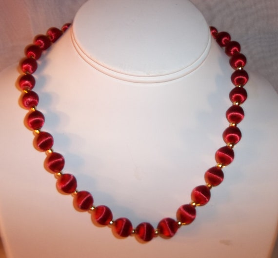 vintage silk thread wrapped bead necklace by