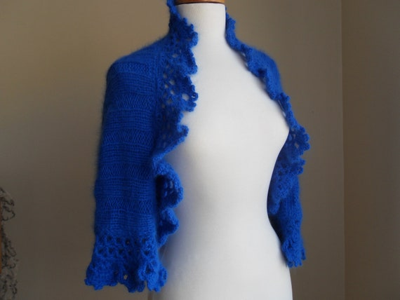 Blue handknitted sweater shrug bolero cardigan with crochet lace border