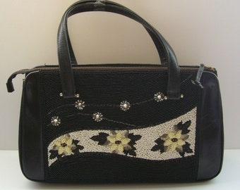 Black leather handbag with beaded inserts, vintage Japanese handbag,1960s