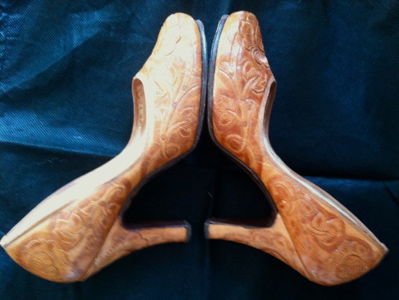 1950s Mexican Tooled Leather High Heel Shoes Size 7