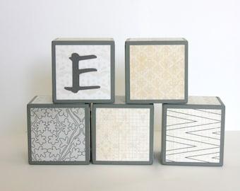 Personalized Baby Blocks - Nursery Decor - SET OF 5  - Charcoal Gray Cream Ivory - Floral Modern Chevron Patterns