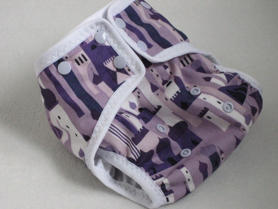 One Size Cloth Diaper Cover - fits 10-35lbs Purple Towers, 1001 Peeps