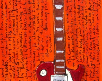 Pete Townshend Gibson Les Paul 5 electric guitar art print