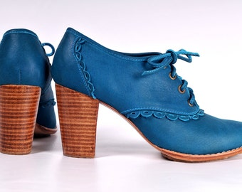 LACE. Leather oxford shoes / oxford heels / oxfords / leather booties / teal leather. sizes US 4-13. Available in different leather colors.