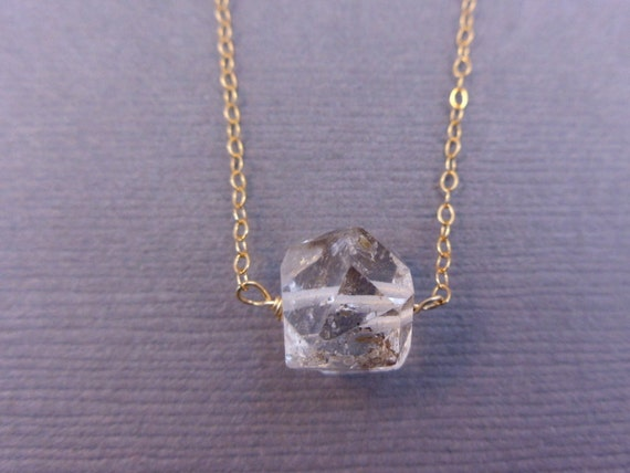 Rough Quartz Crystal Necklace Minimalist Necklace on a gold fill chain