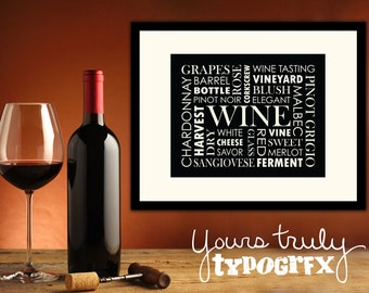 Wine Themed Typography Word Art - 8x10 Matted Print in 11x14 Frame - Perfect for Wineaux's - Available in Your Choice of Colors