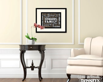 8x10 Print (Matted/Framed) featuring Custom Typography Word Art - Your Words, Your Colors, Your Story - Great for Family, Wedding & Baby