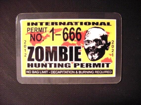 Zombie FUN Hunting Permit ID CARD - Free Shipping -