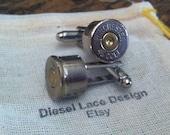Bullet cufflinks Colt 45 nickel plated silver tone backings handgun groomsmen wedding cuff links men
