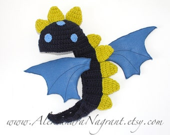 DRAGON/ DINOSAUR Baby Costume - acrylic - felted fabric - photo prop - Made To Order