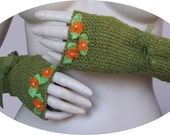 Fingerle gloves,winter accessory, knit accessory,girl/ women gloves, green Fingerle gloves,ribbons gloves.