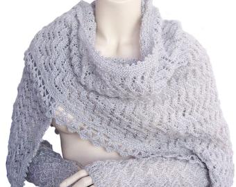 Hand knitted shawl, Grey shawl, Women shawl, Grey gloves, accessories shawl