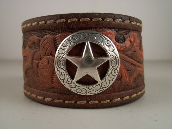 Cowboy Cuff from Repurposed Cowboy Belt with Texas Star Concho - Made in Texas