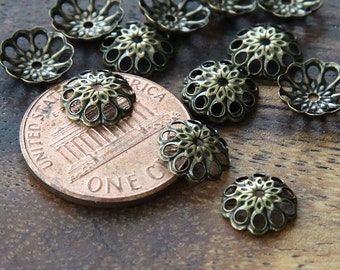Bead Caps, Antique Bronze, 8mm Vintage Style - 50 pcs - eBCR014-AB