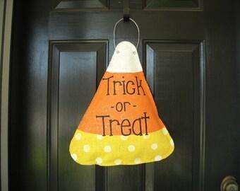 Burlap Candy Corn Door Hanger- Trick or Treat