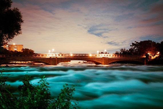 Bridge Over Troubled Water, Dramatic Niagara Photograph, Niagara River, 8x10 or 8x12, Turquoise and French Roast Brown
