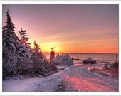 "First Day, First Light - 16"" x 20"" Framed, Matted & Signed Print - West Quoddy Head Lighthouse in Lubec, Maine on New Year's Morning - photo - AlecHartmanPhoto"