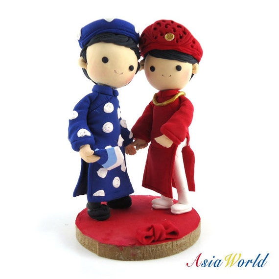 Wedding Cake Topper clay, Traditional Vietnam Wedding Costume, Engagement party decoration, Wedding clay doll