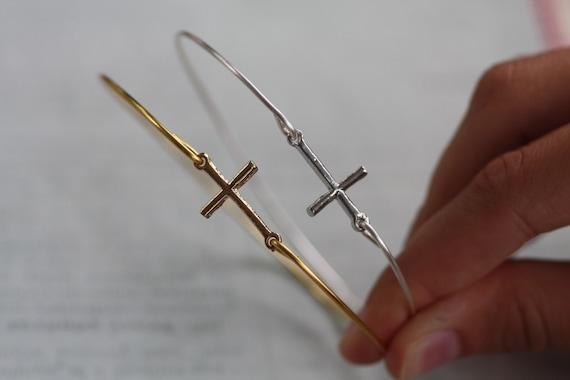 Sideways Cross Bangle Bracelet Cross Bangle Bracelet Gold