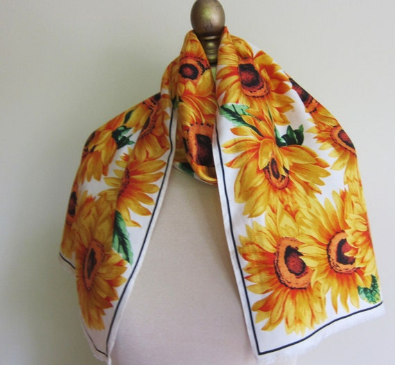 RESERVED for K     Adrienne Vittadini  long silk scarf Sunflowers