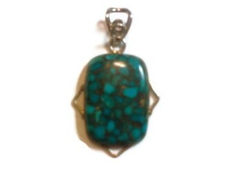 Sterling Silver Blue Turquoise Copper Necklace Pendant Jewelry