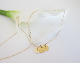 initial necklace, monogram necklace, three initial necklace, gold filled initial necklace, mother necklace, christmas gift