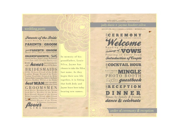 CUSTOM LISTING for akniel - DIY Wedding Fan Program - Printable File - Rustic, Yellow, Custom, Vintage, Shabby Chic wedding