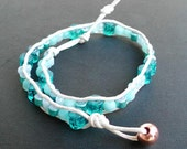 Beach glass beads on leather cording with copper closure