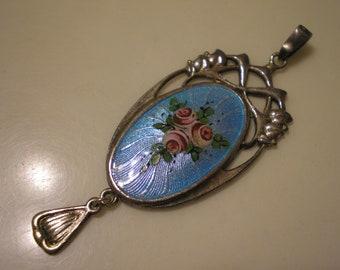 Vintage Antique Sterling Silver Enamel Flower Pendant CHARLES HORNER