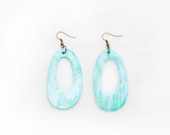 Turquoise wooden  earrings Wood Earrings 2 1/2 inch (6 cm) Boho earrings