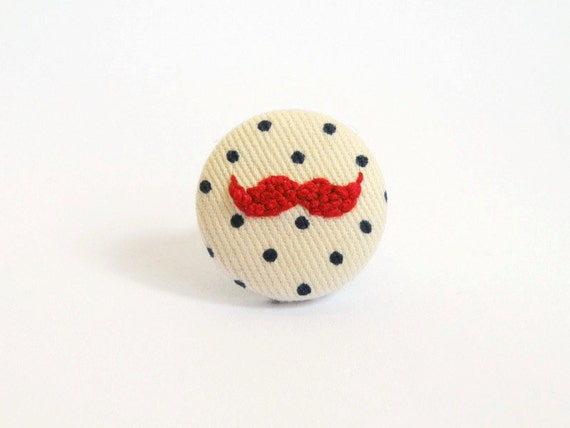 Moustache ring, red embroidery, french knots, polka dots