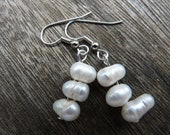 Three White Pearls Earrings - Recycled