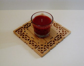 Celtic Scroll Saw Fretwork Candle Trivet Made From Maple 2