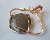 Wire Wrap Charlevoix Stone Nugold and Copper Pendant