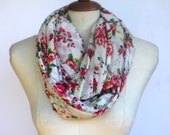 Infinity Scarf, Loop Scarf, Circle Scarf, Light Weight Jersey Spring Floral Print