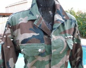 Small - Studded US Army Military Jacket,  Spiked Jacket, Hipster Jacket, Grunge Jacket, BDU Jacket, Camo Jacket