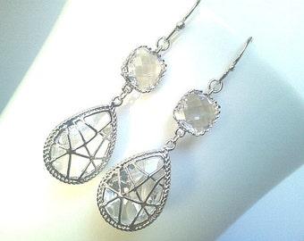 Clear Crystal Cool Wedding Earrings - Drop,Dangle Earrings,bridesmaid gifts,Wedding Earrings,Christmas Earrings