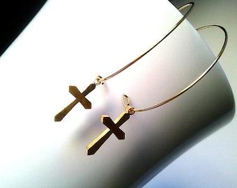 Cross Dangle Earrings - Drop Earrings, bridesmaid gifts,Wedding jewelry,christmas gift, cocktail jewelry