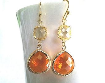 Orange Earrings, Yellow Earrings, Lemon Yellow Earrings, Dangle, Gemstone, bridesmaid gifts,Wedding Earrings