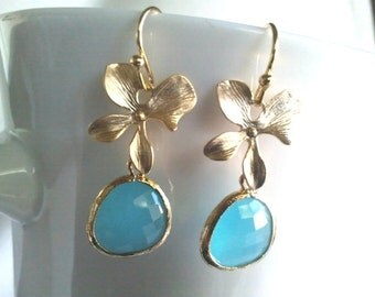 Lucky flower with Ocean Blue Gold Earrings, Drop,Dangle, bridesmaid gifts,Wedding jewelry,Orchid Earrings