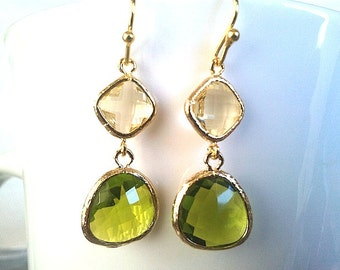 Lemon with Lime Green Goldearrings -,Drop, Dangle, Glass Earrings, bridesmaid gifts,Wedding jewelry ,christmas gift, cocktail jewelry