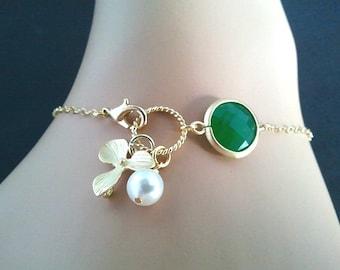 Lovely Green Jade Charm Bracelet - Bangle Bracelet,Friendship bracelet, wedding bracelet,christmas gift, cocktail jewelry