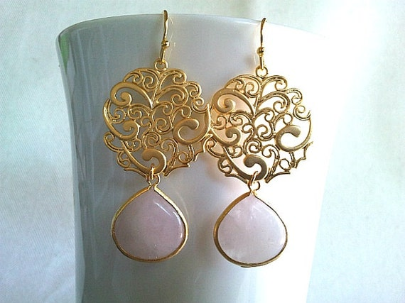 Paisley with White Pink Gold Earrings -  Wedding Jewelry, Bride maid Gift, Elegant, High Fashion