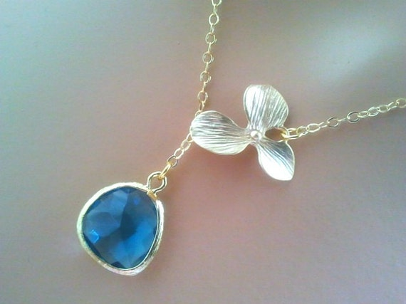 Sapphire necklace, Orchid Necklace, Wedding Necklace, Bridal Jewelry, bridesmaid gifts, Pendant Necklace, Lariat Necklace,Christmas GIFT