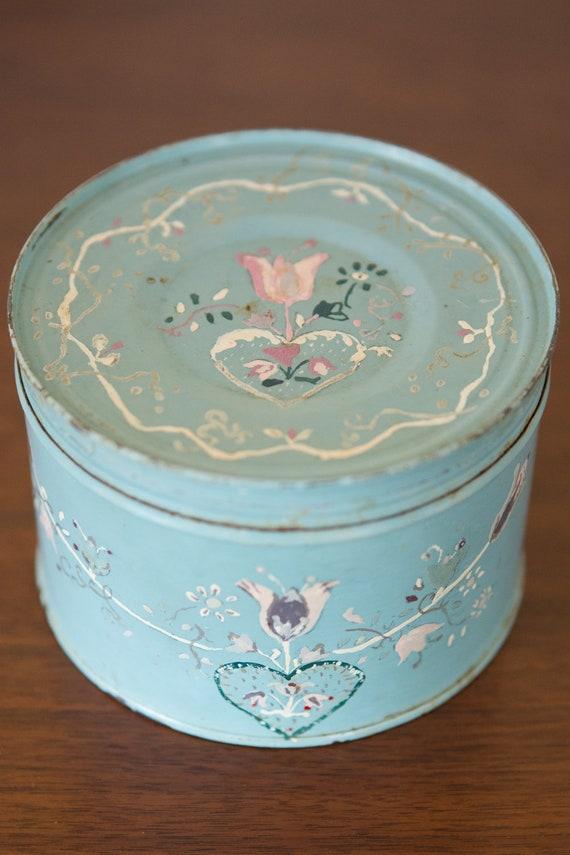 Vintage Blue Floral Tin